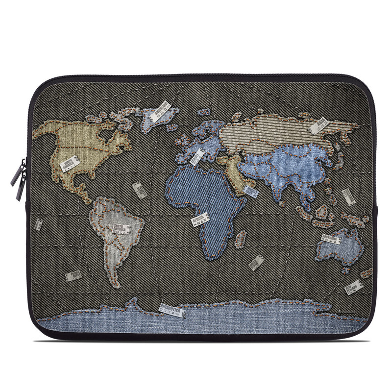 Laptop Sleeve design of World, Map, Pattern, Space with black colors