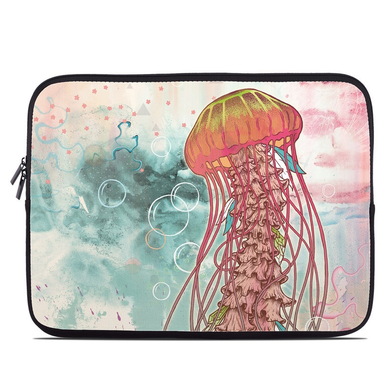 Laptop Sleeve design of Jellyfish, Illustration, Water, Cnidaria, Marine invertebrates, Organism, Portuguese man o' war, Art, Nepenthes, Invertebrate with gray, pink, yellow, red, green colors