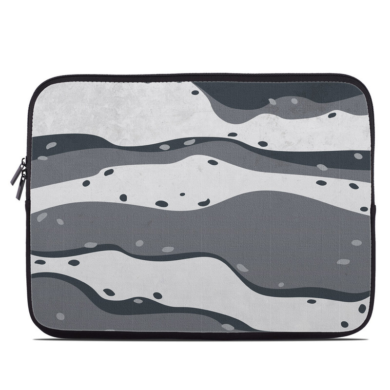 Laptop Sleeve design of White, Pattern, Water, Design, Illustration, Black-and-white, Metal, Drawing, Style with black, white, gray colors