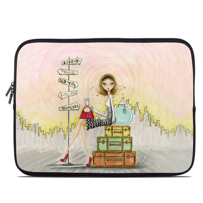 Laptop Sleeve design of Cartoon, Illustration, Art, Watercolor paint with gray, pink, green, red, black colors