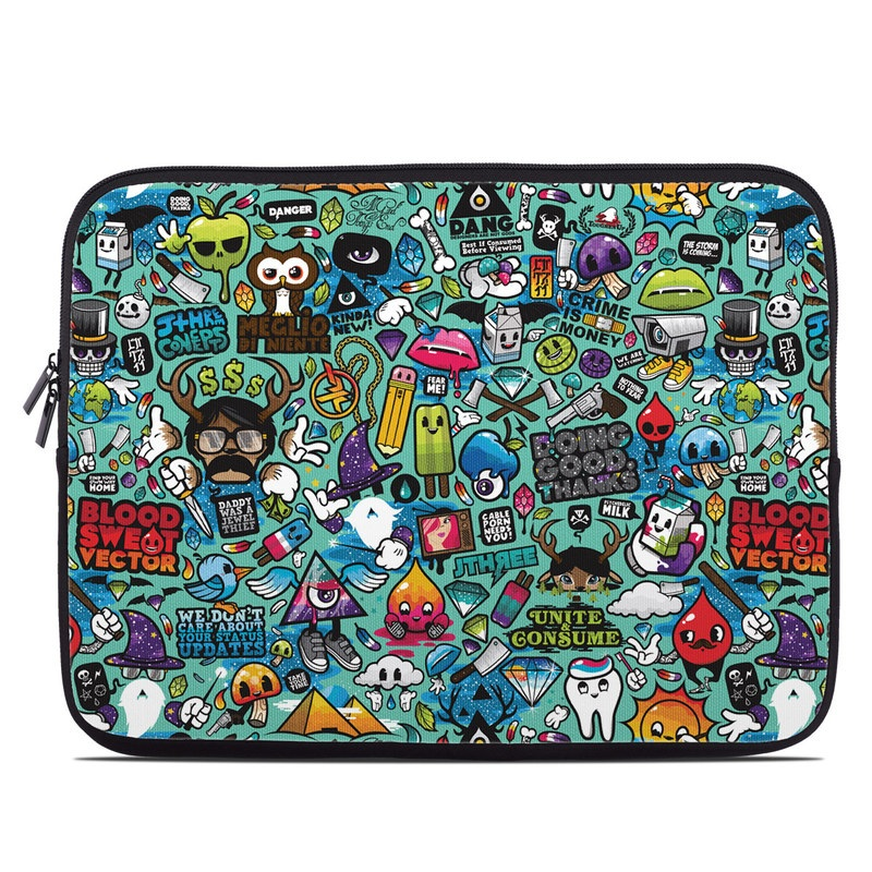 Laptop Sleeve design of Cartoon, Art, Pattern, Design, Illustration, Visual arts, Doodle, Psychedelic art with black, blue, gray, red, green colors