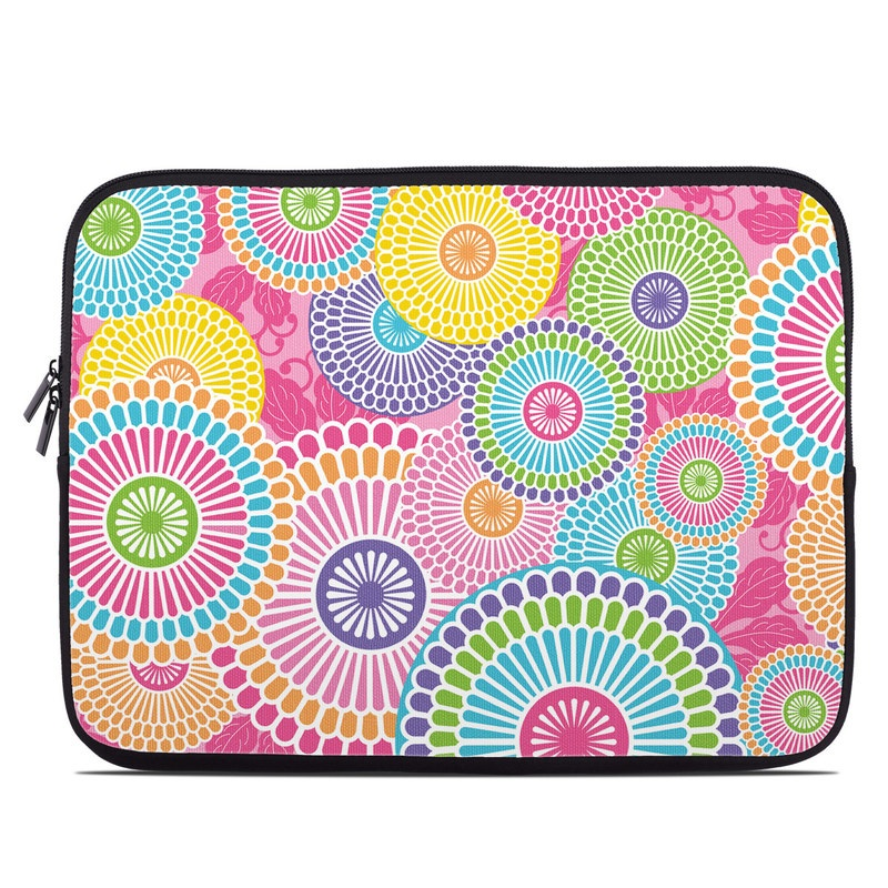 Laptop Sleeve design of Pattern, Circle, Textile, Design, Visual arts, Wrapping paper with gray, pink, purple, orange, blue, green colors
