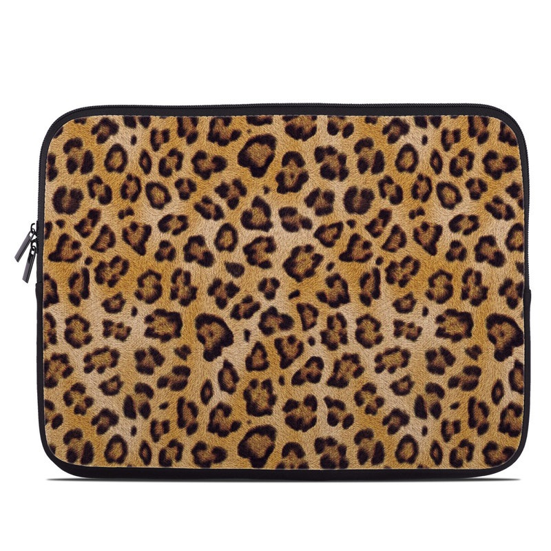 Laptop Sleeve design of Pattern, Felidae, Fur, Brown, Design, Terrestrial animal, Close-up, Big cats, African leopard, Organism with orange, black colors
