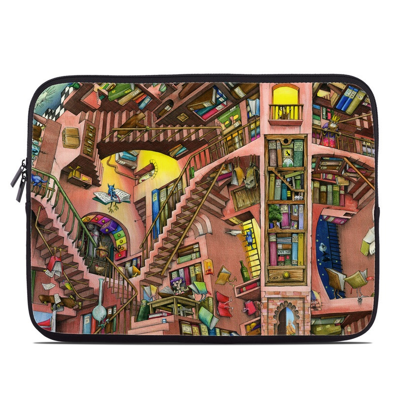 Laptop Sleeve design of Cartoon, Building, Art, Architecture, Design, Fun, Retail, Illustration, Neighbourhood, Room with pink, yellow, blue, red, orange, brown colors