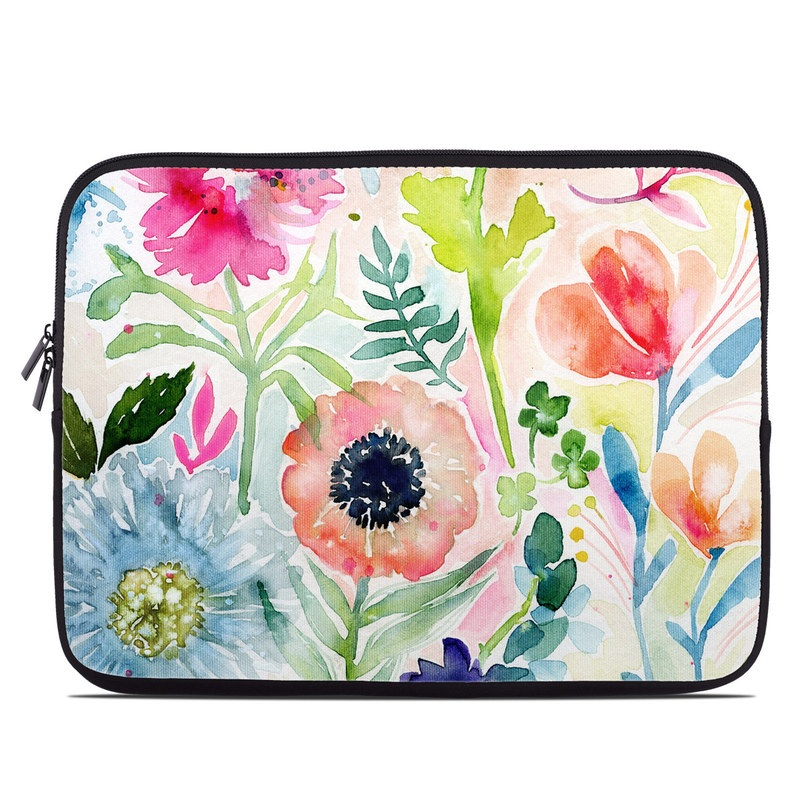 Laptop Sleeve design of Flower, Watercolor paint, Plant, Flowering plant, Pattern, Floral design, Botany, Petal, Wildflower, Design with green, pink, yellow, orange, blue, red, purple colors