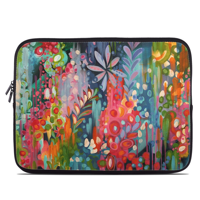 Laptop Sleeve design of Painting, Modern art, Acrylic paint, Art, Visual arts, Watercolor paint, Child art, Flower, Plant, Tree with blue, red, orange, purple, yellow, pink, green colors