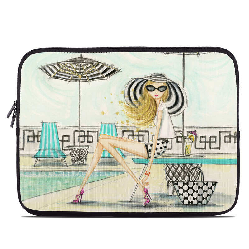 Laptop Sleeve design of Cartoon, Line, Illustration, Fashion illustration, Ferris wheel, Recreation, Style, Art with black, white, yellow, pink, blue colors