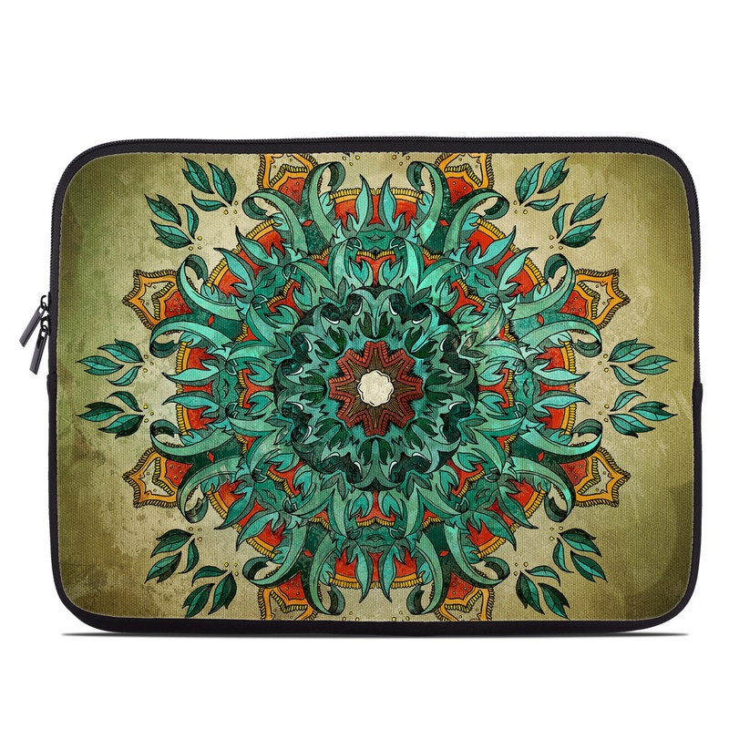 Laptop Sleeve design of Art, Pattern, Illustration, Visual arts, Psychedelic art, Design, Modern art, Textile, Drawing, Plant with black, green, gray, blue, red colors