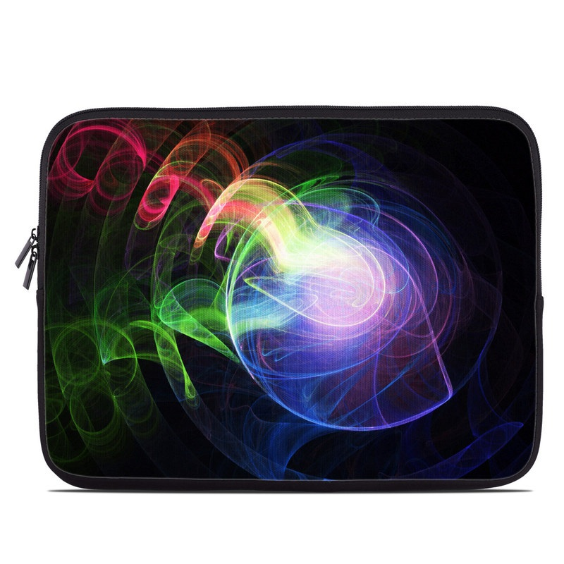 Laptop Sleeve design of Light, Blue, Graphic design, Fractal art, Colorfulness, Electric blue, Neon, Circle, Design, Technology with black, blue, green, red, purple colors
