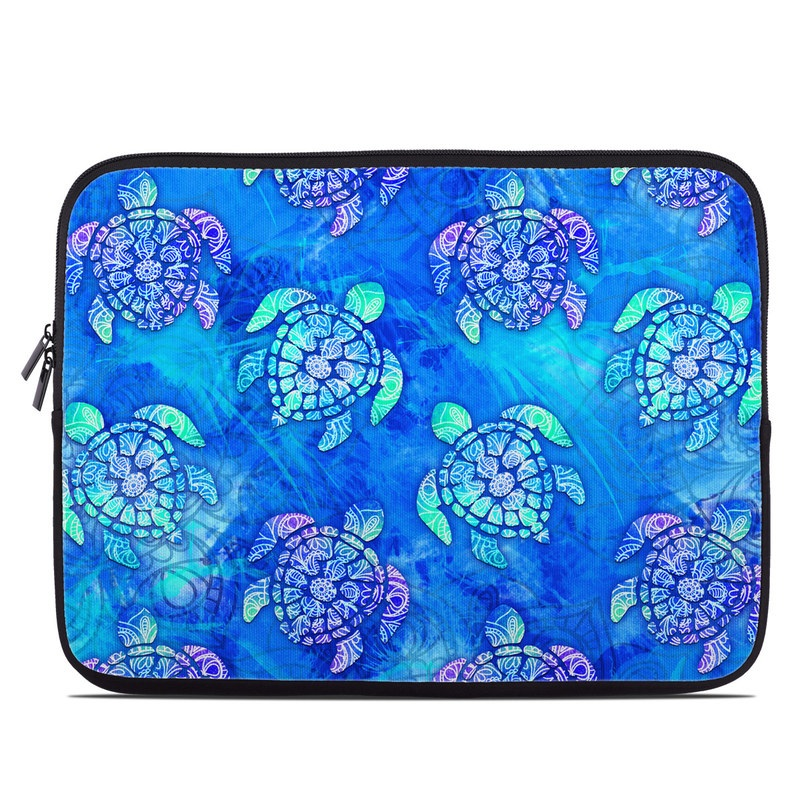 Laptop Sleeve design of Blue, Pattern, Organism, Design, Sea turtle, Plant, Electric blue, Hydrangea, Flower, Symmetry with blue, green, purple colors