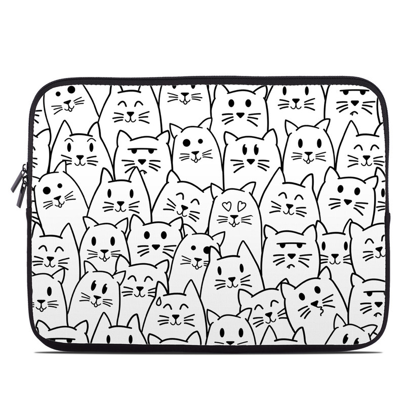 Laptop Sleeve design of White, Line art, Text, Black, Pattern, Black-and-white, Line, Design, Font, Organism with white, black colors