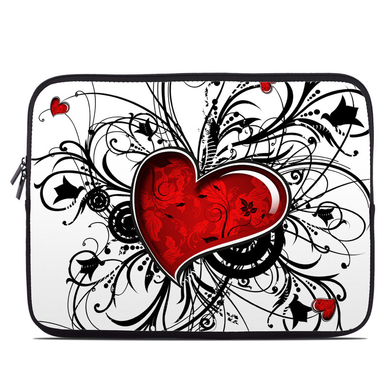Laptop Sleeve design of Heart, Line art, Love, Clip art, Plant, Graphic design, Illustration with white, gray, black, red colors