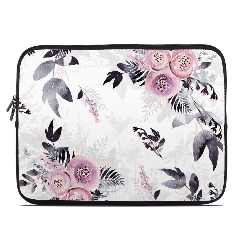 Laptop Sleeve design of Pink, Pattern, Design, Floral design, Textile, Plant, Flower, Magenta, Petal, Wallpaper with white, purple, pink, black, gray colors