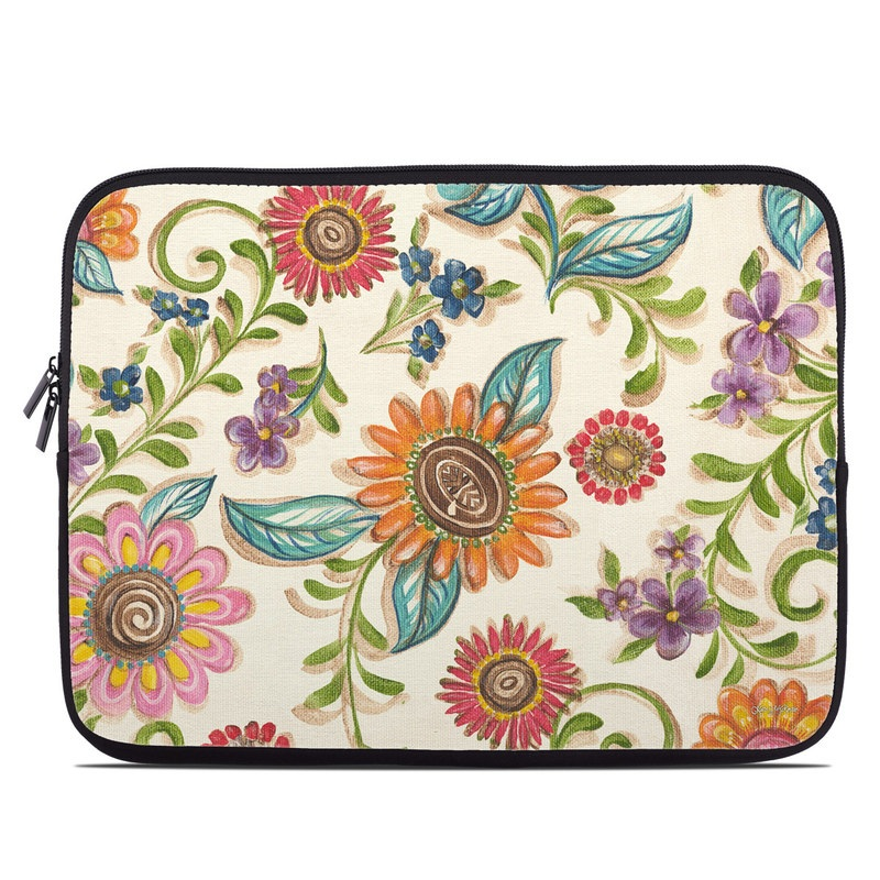 Laptop Sleeve design of Pattern, Floral design, Flower, Botany, Design, Visual arts, Textile, Plant, Wildflower, Pedicel with gray, green, pink, yellow, red, blue colors