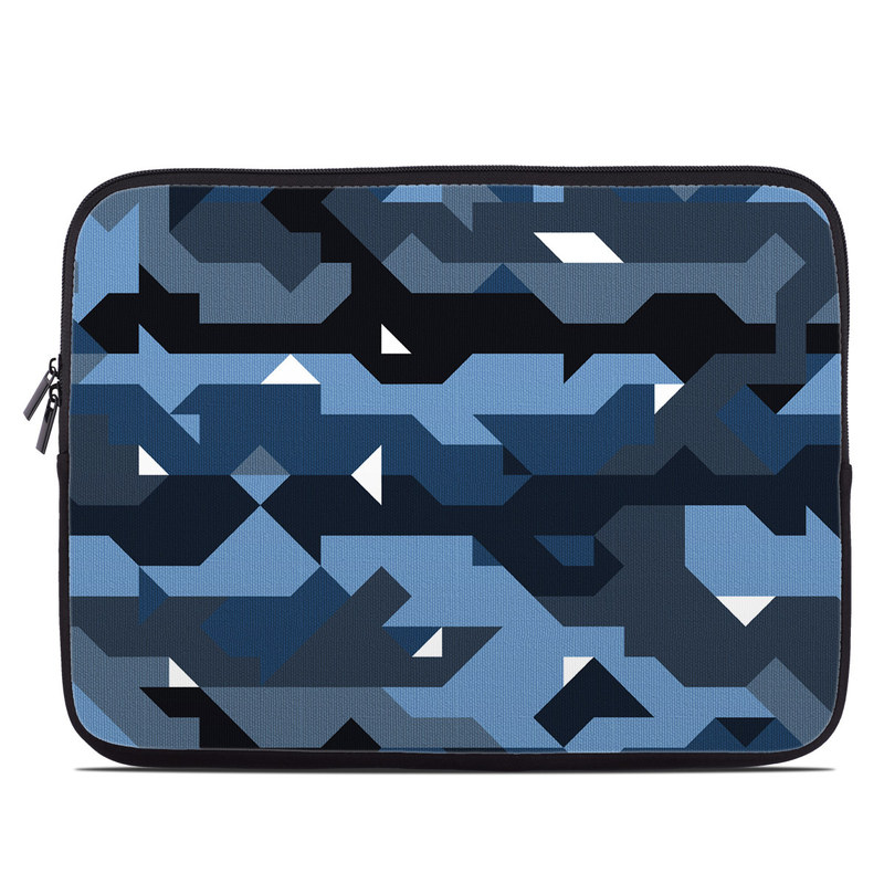 Laptop Sleeve design of Blue, Pattern, Design, Font, Line, Camouflage, Illustration, Triangle with blue, black, white, gray colors