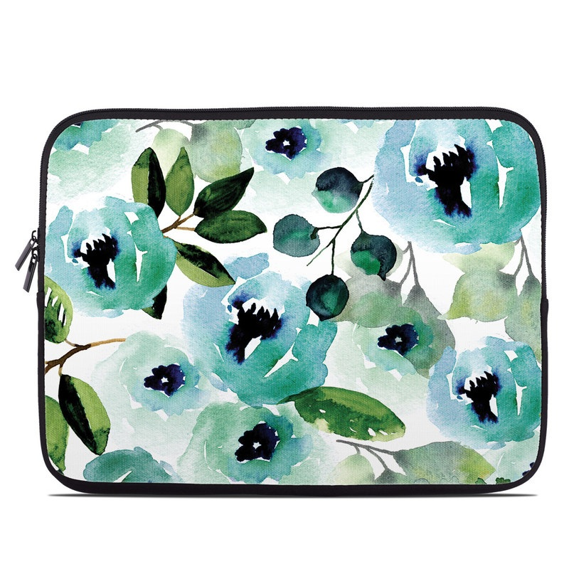 Laptop Sleeve design of Green, Pattern, Leaf, Aqua, Plant, Design, Branch, Organism, Flower, Ivy with white, green, blue, black colors