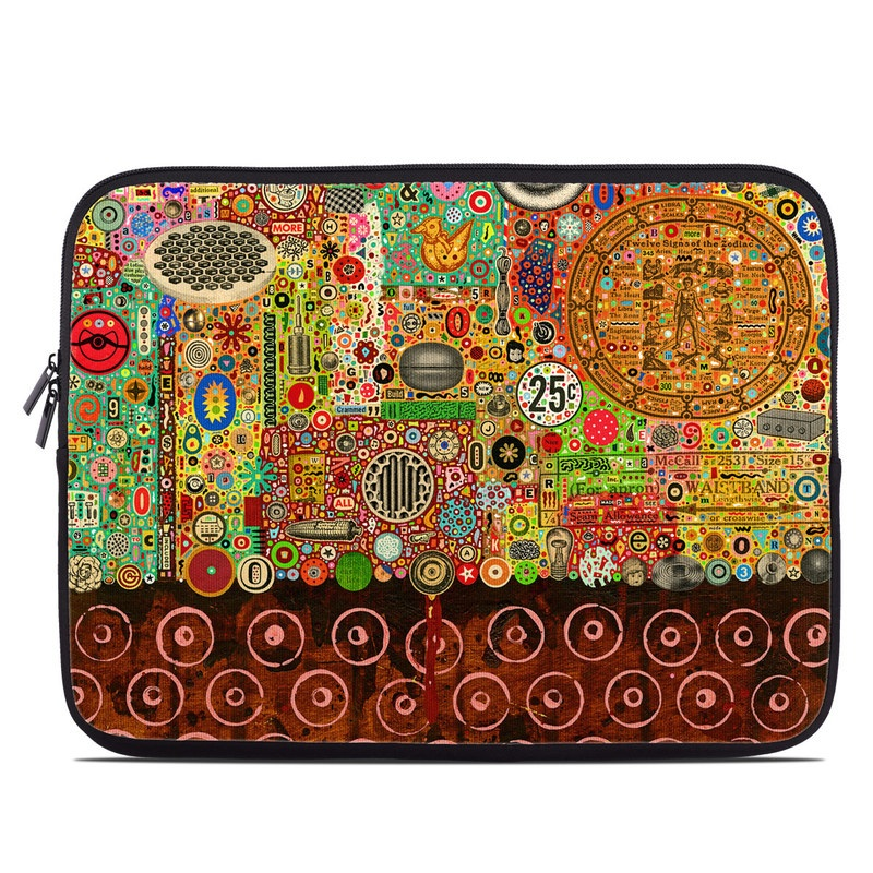 Laptop Sleeve design of Pattern, Art, Tapestry, Visual arts, Textile, Design, Psychedelic art, Motif, Modern art, Circle with brown, black, yellow, green, orange, red colors