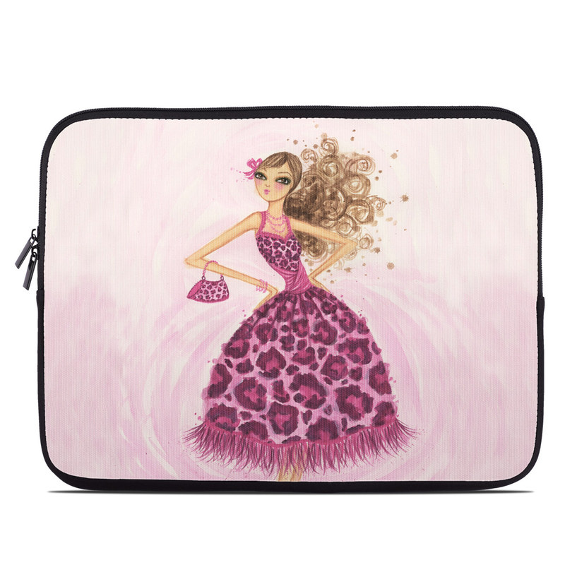 Laptop Sleeve design of Pink, Doll, Dress, Fashion illustration, Barbie, Fashion design, Illustration, Gown, Costume design, Toy with pink, gray, red, purple, green colors