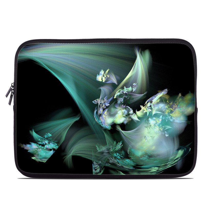 Laptop Sleeve design of Fractal art, Cg artwork, Fictional character, Organism, Graphic design, Graphics, Art, Photography, Mythical creature, Dragon with black, blue, gray, green colors