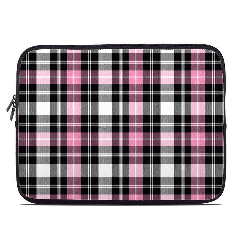 Laptop Sleeve design of Plaid, Tartan, Pattern, Pink, Purple, Violet, Line, Textile, Magenta, Design with black, gray, pink, red, white, purple colors