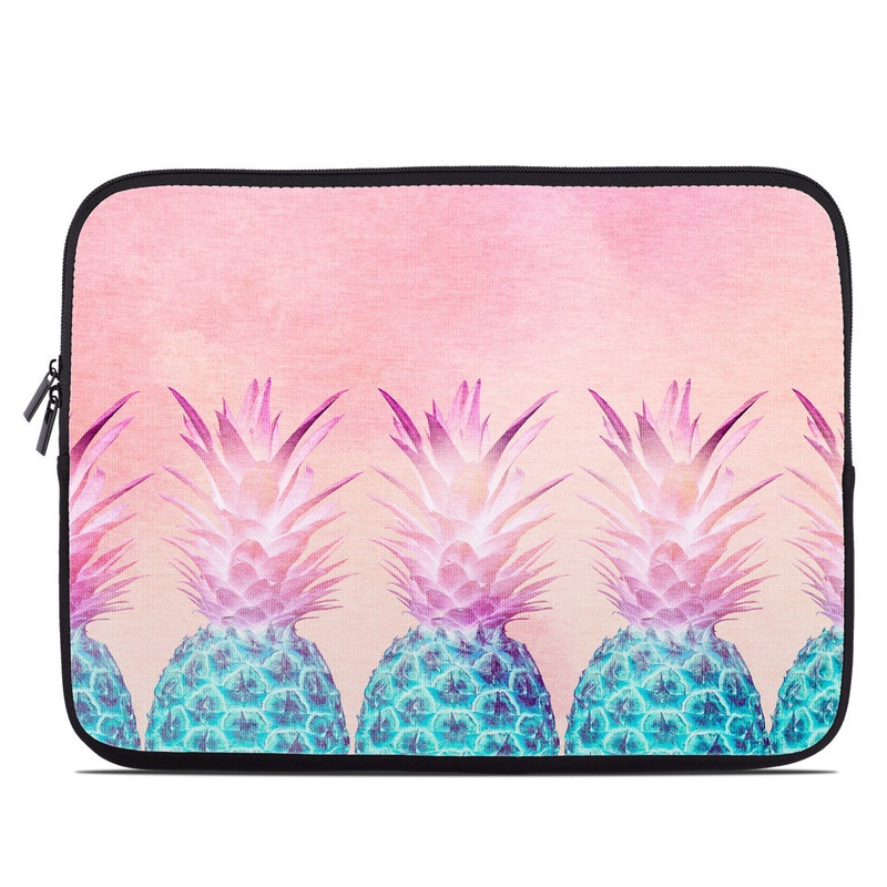 Laptop Sleeve design of Pineapple, Ananas, Pink, Fruit, Plant, Bromeliaceae, Pattern, Poales with pink, blue, orange colors