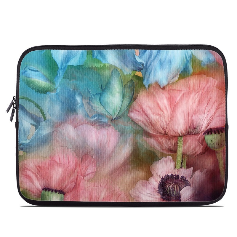 Laptop Sleeve design of Flower, Petal, Watercolor paint, Painting, Plant, Flowering plant, Pink, Botany, Wildflower, Still life with gray, blue, black, red, green colors