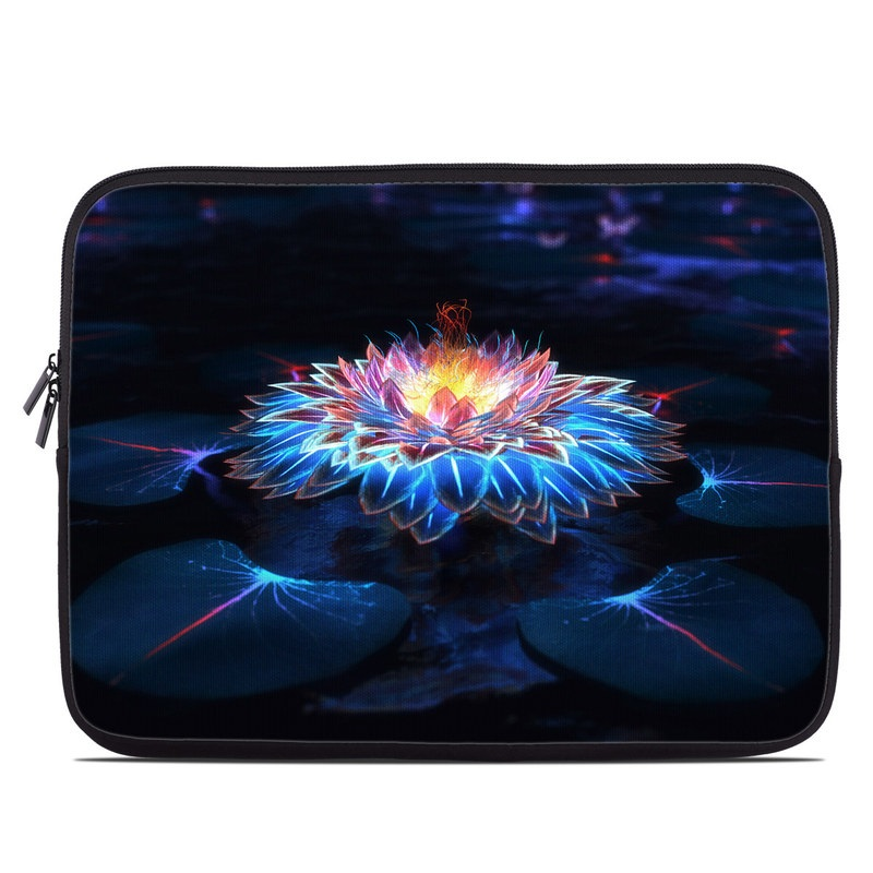 Laptop Sleeve design of Water, Light, Fractal art, Organism, Electric blue, Aquatic plant, Darkness, Plant, Art, Space with black, blue, gray colors