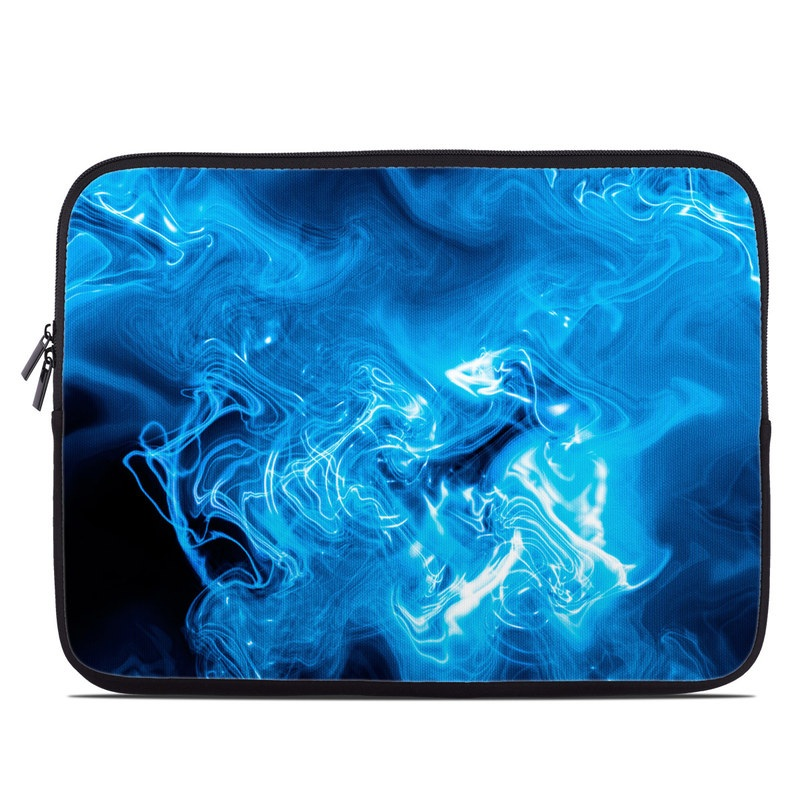 Laptop Sleeve design of Blue, Water, Electric blue, Organism, Pattern, Smoke, Liquid, Art with blue, black, purple colors