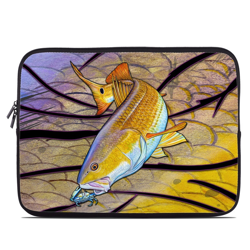 Laptop Sleeve design of Fish, Organism, Bony-fish, Ray-finned fish, Marine biology, Painting, Fin, Illustration, Art with green, gray, black, red, orange, purple colors
