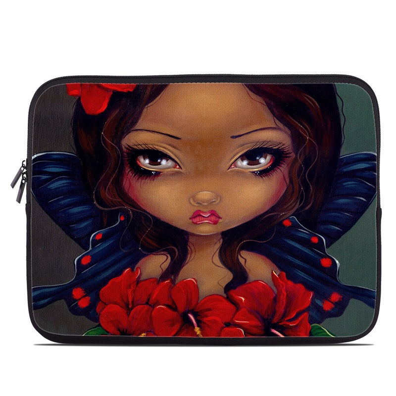 Laptop Sleeve design of Red, Lip, Illustration, Flower, Plant, Fictional character, Animated cartoon, Petal, Art, Black hair with black, red, green colors