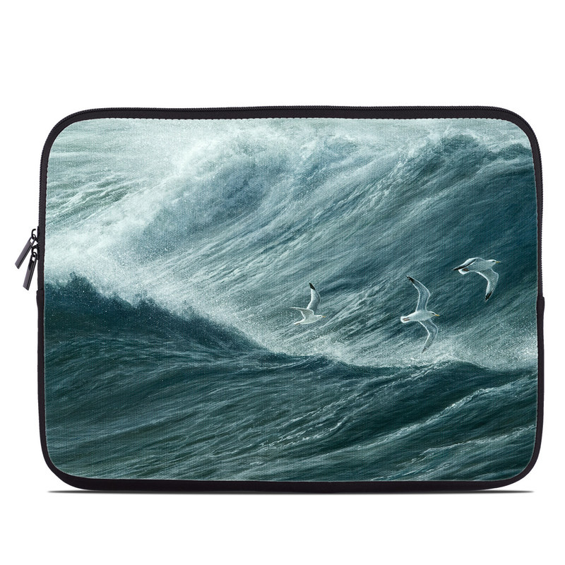 Laptop Sleeve design of Wave, Wind wave, Tide, Sea, Ocean, Water, Sky, Wind, Tsunami, Surfing with blue, white colors