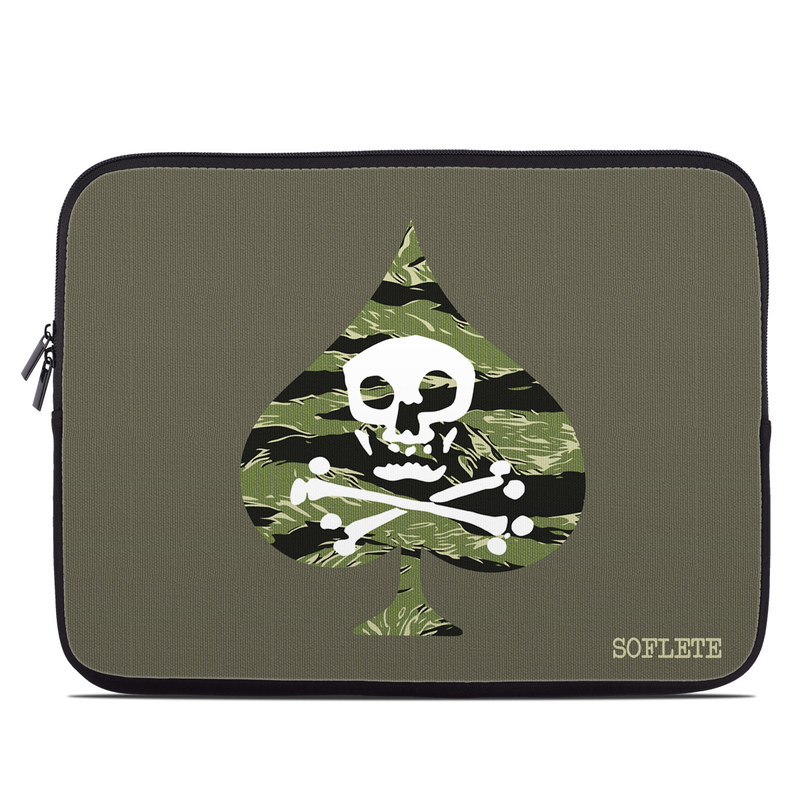 Laptop Sleeve design of Military camouflage, Green, Camouflage, Illustration, Leaf, Skull, Pattern, Design, Headgear, Plant with black, white, green colors
