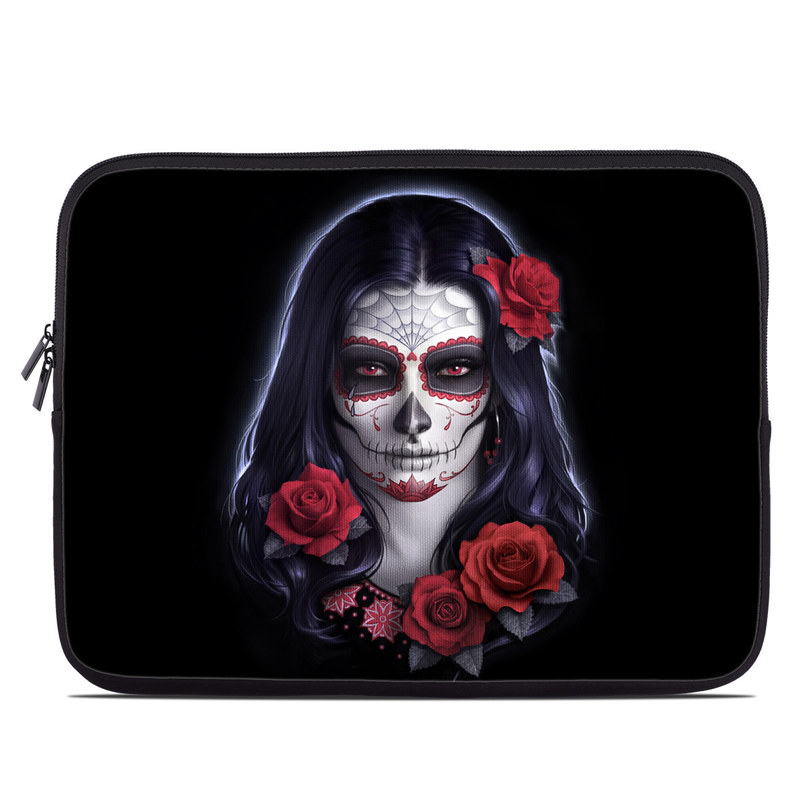 Laptop Sleeve design of Face, Red, Head, Skull, Illustration, Bone, Font, Darkness, Ghost, Fictional character with black, gray, red, blue colors