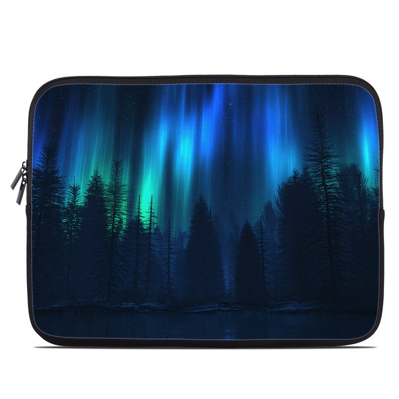 Laptop Sleeve design of Blue, Light, Natural environment, Tree, Sky, Forest, Darkness, Aurora, Night, Electric blue with black, blue colors