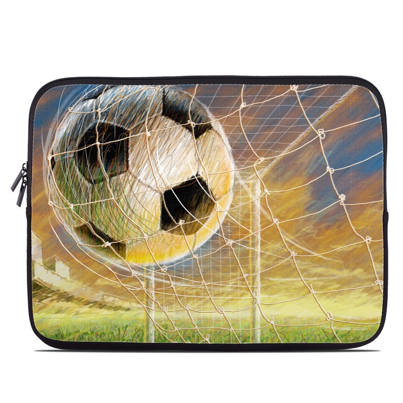 Laptop Sleeve design of Ball, Soccer ball, Football, Goal, Eye, Net, Space, World with gray, green, black, red, pink, blue colors