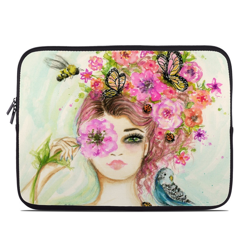 Laptop Sleeve design of Face, Watercolor paint, Illustration, Pink, Head, Fashion illustration, Beauty, Art, Cheek, Painting with white, pink, green, blue, yellow, red, brown colors