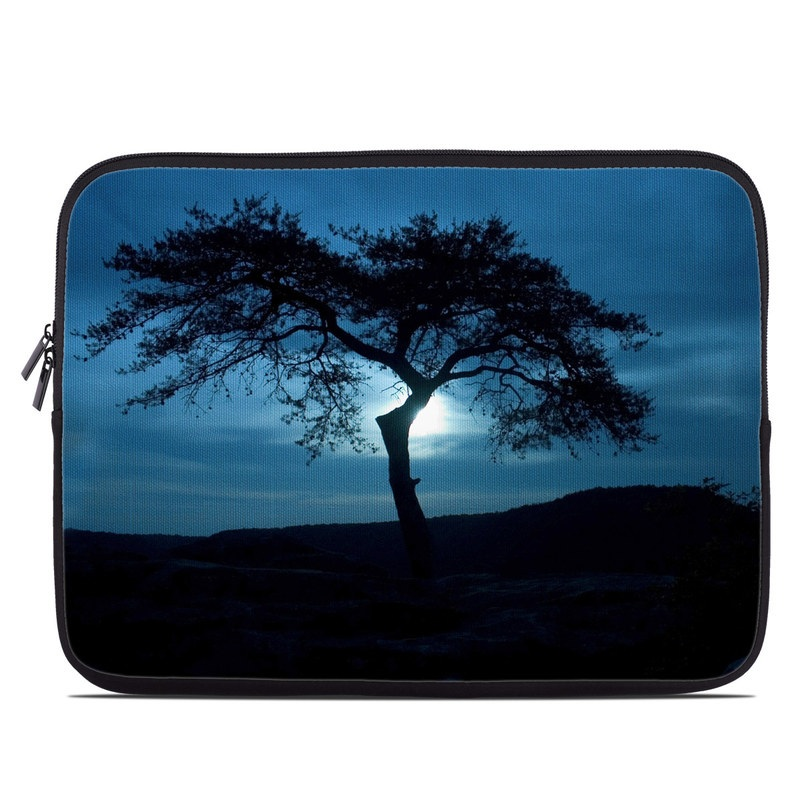 Laptop Sleeve design of Sky, Tree, Nature, Natural landscape, Blue, Horizon, Branch, Woody plant, Dusk, Savanna with black, blue, gray colors