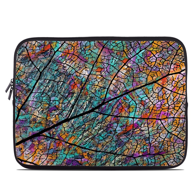 Laptop Sleeve design of Pattern, Colorfulness, Line, Branch, Tree, Leaf, Design, Visual arts, Glass, Plant with black, gray, red, blue, green colors