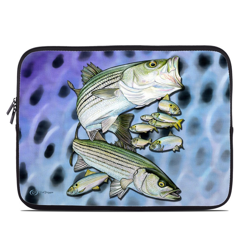 Laptop Sleeve design of Fish, Bass, Bony-fish, Ray-finned fish, Northern largemouth bass, Trout with gray, black, blue, purple, green colors