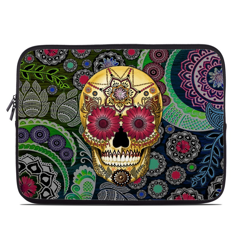 Laptop Sleeve design of Skull, Bone, Pattern, Psychedelic art, Visual arts, Design, Illustration, Art, Textile, Plant with black, red, gray, green, blue colors