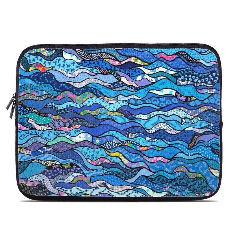 Laptop Sleeve design of Blue, Pattern, Aqua, Water, Line, Design, Textile, Psychedelic art, Electric blue with blue, black, gray, purple colors