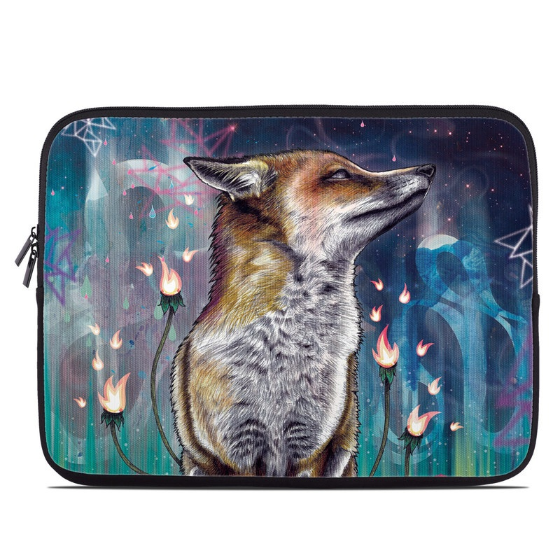 Laptop Sleeve design of Red fox, Art, Wildlife, Canidae, Illustration, Fox, Carnivore, Painting, Dhole, Red wolf with black, gray, blue, red, green colors