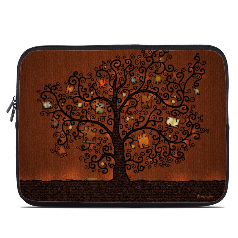Laptop Sleeve design of Tree, Brown, Leaf, Plant, Woody plant, Branch, Visual arts, Font, Pattern, Art with black colors