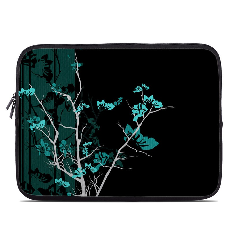 Laptop Sleeve design of Branch, Black, Blue, Green, Turquoise, Teal, Tree, Plant, Graphic design, Twig with black, blue, gray colors