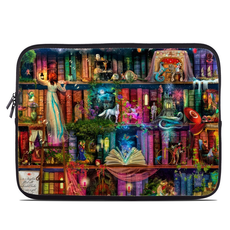 Laptop Sleeve design of Painting, Art, Theatrical scenery with black, red, gray, green, blue colors