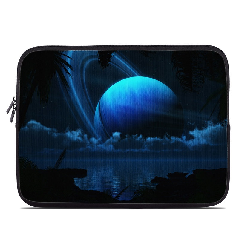 Laptop Sleeve design of Light, Sky, Water, Darkness, Astronomical object, Atmosphere, Night, Moonlight, Midnight, Space with black, blue colors