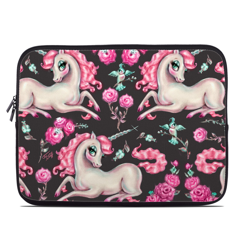 Laptop Sleeve design of Pink, Horse, Pony, Fictional character, Unicorn, Mythical creature, Mane, Textile, Animal figure, Illustration with white, pink, blue, black, red colors