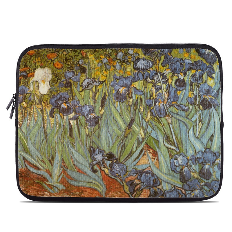 Laptop Sleeve design of Painting, Plant, Art, Flower, Iris, Modern art, Perennial plant with gray, green, black, red, blue colors