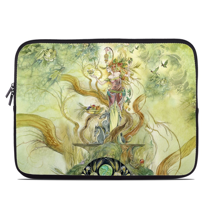 Laptop Sleeve design of Art, Illustration, Mythology, Painting, Fictional character, Watercolor paint, Visual arts, Cg artwork, Graphic design, Style with green, yellow, orange, gray, red colors