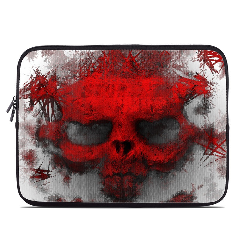 Laptop Sleeve design of Red, Graphic design, Skull, Illustration, Bone, Graphics, Art, Fictional character with red, gray, black, white colors